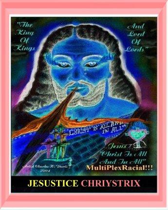 Jesustice Chriystrix - Jesus Christ_ neg image aqua frame 1500